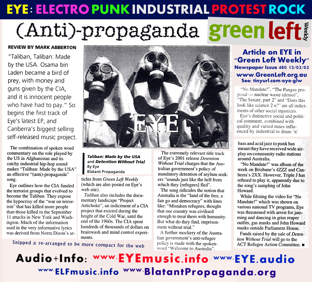 Green Left Weekly Australian Socialist Anarchist Anti War Capitalist Politics Revolutionary Political Street Newspaper Magazine EYE Protest Music Band Reviews Interviews Articles Musicians Bands Groups Australia Features Interviews History Pics