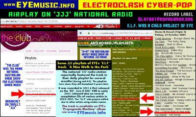 Australian Early Top Best Good Famous Electronica Indietronica Triple J JJJ National Radio Stations Play Song Track Music Program List Lists Band EYE ELF the E.L.F. Post Industrial Electronic Dance Music EDM IDM 10s 00s 90s Australia