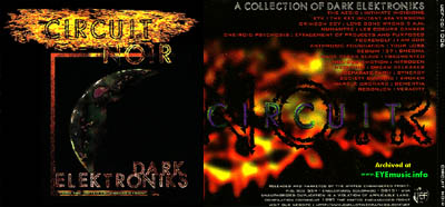 CD cover artwork jacket for the compilation CD album title Circuit Noir 1997 UEF U.E.F. United Endangered Front Records Record Label 1990s 90s alternative underground Denver Colorado USA dark electronic electro industrial bands groups musicians music artists