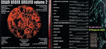 CD artwork jacket cover for the compilation album Down Under Ground Volume Vol 2 from by TOAN Records 1997 1990s 90s alternative Aussie Australian bands musicians music artists Sydney NSW Australia