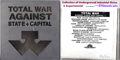Compilation Album CD Total War Against State Capital Hidden Power Enterprises Sweden Europe Swedish Anarchist Underground Alternative Experimental Dark Ambient Industrial Power Noise Political Protest Music Record Labels Bands cover art jacket Artists Projects 1990s 90s 00s 2000s