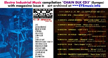 Chain DLK D.L.K. Zine Magazine Issue 8 Compilation CD3 Italy Europe Electro Industrial Industrielle Industriel Dark Electro Electronic European Music Musik Musique Scene Art Cover Jacket Artwork The Hell Key 1990s 2000s Editors Marc Urselli-Scharer Maurizio Pustianaz