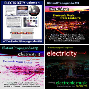 Compilation CD album of Canberra Electronic Music Artists Record Label Community Radio 2XX 98.3FM ACT Australia cover art early old Canberran underground electronica music 90s 1990s music bands groups musicians projects producers DJ Robot Citizen