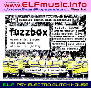 Canberra Australia Live Electronic Dance Music Bands Musicians ELF the E.L.F. EYE The Green Room Woden Phillip Electronica Gigs Producers Sound Artists Groups 2000s 00s Nightclub DJs Night Clubs Canberran Club DJ Australian Flyers History Posters Photos