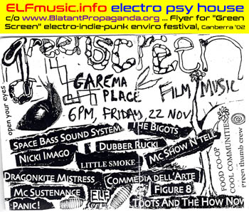 Canberra Australia Live Bands ELF the E.L.F. EYE Electronic Dance Music Garema Place Concerts Gigs Festivals Benefits Producers Sound Artists Groups Musicians Electronica 2000s 00s Dubba Rukki the Bigots DJs DJ Nightclub Night Club Canberran Australian