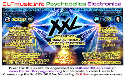 Canberra Radio 2XX FM Local Live Bands ELF E.L.F. Groups Concerts Electronica Electronic Dance Music Scene Sound Artists Producers Musicians History Photos Flyers Record Label Canberran Australian DJs DJ Night Club Parties Raves Gigs Nightclub Posters Community