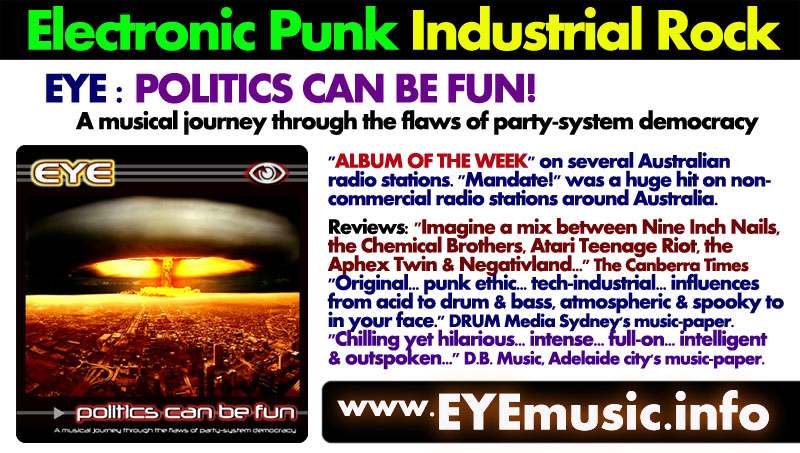 EYE Heavy Hard Dark Electronic Music Canberra Alternative Aussie Bands Australian Groups Musicians Electro Pop Synth Dance Punk Industrial Rock Elektro Gothic Alt Indie Electronica Artists Night Club DJs Indietronica Hardstyle Techno Glitch Hop Deep Tech Prog Witch House Trance EDM EBM DHC Drum n Bass Jungle in from the Australian Capital Territory (ACT)