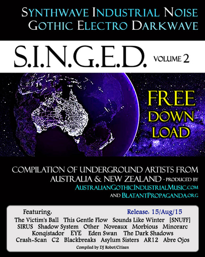 SINGED-vol2-Bands-Promo-Synthwave-Industrial-Noise-Gothic-Electro-Darkwave-Music-from-Australia-New-Zealand-Compilation-Album-lores400w500h
